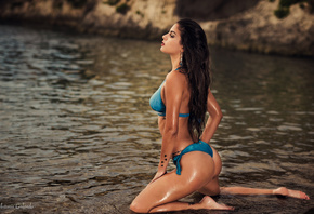 women, blue bikinis, ass, tanned, water, tattoo, kneeling, long hair, wet b ...
