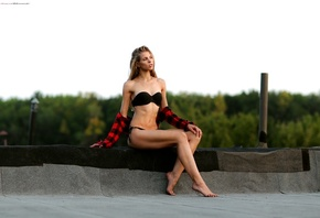 women, black bikini, brunette, plaid shirt, sitting, women outdoors, belly