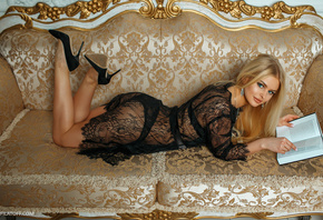 women, blonde, couch, black lingerie, high heels, books, lying on front, ass, blue eyes