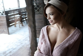 women, face, model, blonde, boobs, depth of field, cleavage, looking away, bare shoulders, portrait, big boobs, open sweater, olga ogneva