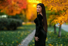 women, Mihail Gerasimov, tight dress, portrait, smiling, trees, leaves, gra ...