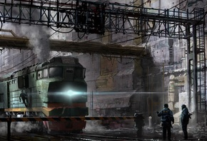 Train, People, Post-apocalyptic, Sci-fi, арт