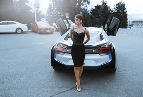 women, Alexander Belavin, high heels, women with cars, black dress, women outdoors, tight dress