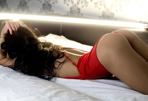 women, ass, bottom up, lying on front, in bed, brunette