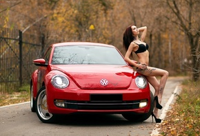women, black lingerie, tattoo, skinny, women outdoors, belly, pierced navel, women with cars