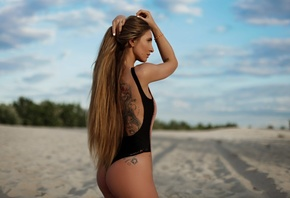 women, tanned, ass, sand, long hair, tattoo, one-piece swimsuit