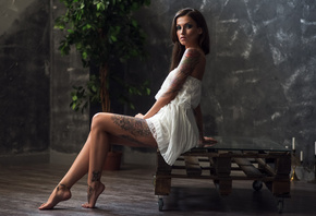 women, sitting, white dress, tattoo, portrait, bare shoulders