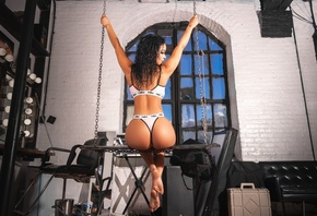 women, ass, lingerie, sitting, window, back, chains, arms up