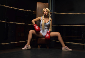 women, sneakers, blonde, monokinis, pigtails, sitting, boxing gloves, portrait, brunette, long hair