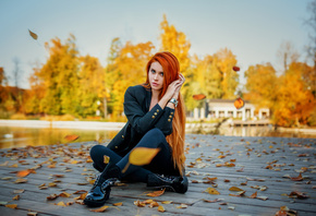 women, Dana Bounty, redhead, sitting, long hair, leaves, black clothing, wo ...