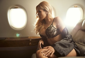 model, blonde, black lingerie, sitting, hundertpfund, plane, aircraft