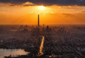 Tianjin, sunset, panorama, cityscapes, Asia, China