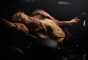 women, closed eyes, black panties, fur, brunette, women with cars, pierced navel, blue nails, pierced nose