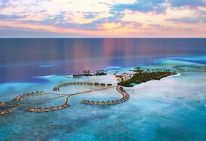 Maldives, ocean, tropical islands, luxury hotel, bungalow, evening, sunset