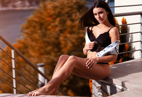 women, Marco Squassina, brunette, belly, sitting, stairs, black lingerie, w ...