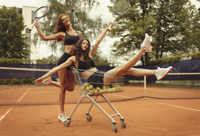 women, brunette, tennis rackets, sneakers, tennis balls, Nike, Black top, s ...