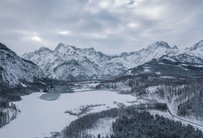 Austria, Almsee, Lake, Snow, Mountain, Winter, Clouds, зима, снег, Австрия