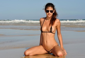 candice luca, bikini pleasure, brunette, slinder, long hair, skinny, delici ...