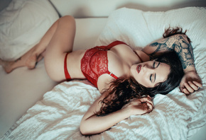 women, tattoo, eyeliner, red lingerie, red lipstick, pierced lip, pillow
