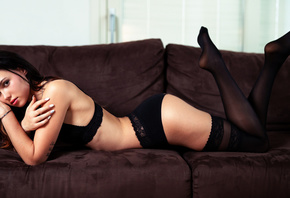 women, Marco Squassina, couch, tattoo, black lingerie, ass, feet in the air ...