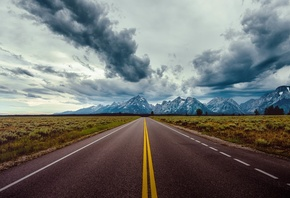 Marks, Highway, Road, Landscape, Mountains, Clouds, Nature