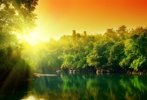 water, the sun, trees, reflection, colorful