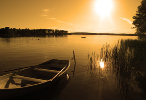 sunset, nature, lake, boat