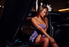women, purple dresses, tanned, portrait, women with cars, sitting, red nails, red lipstick, closed eyes, tight dress, bare shoulders, bokeh