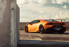 Orange, Lamborghini, Huracan, Rear