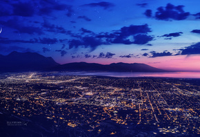 City, Dreamscape, Lights, Night, Moon, Mountains