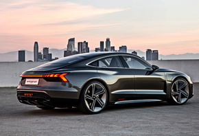 Audi, E-Tron, GT, Concept, 2019, rear view, exterior, black sports coupe