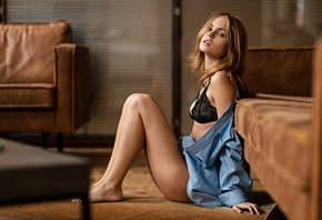Anastasia Scheglova, women, blonde, black lingerie, sitting, shirt, brunett ...