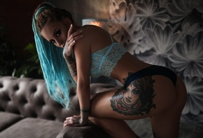 inked girls, dyed hair, model, ass, women indoors
