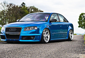 Audi, RS4, stance, cool cars, tunned, Vossen, Wheels CG-205, blue
