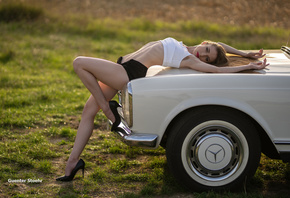 women with cars, car, vehicle, women outdoors, 500px, Guenter Stoehr, poses, high heels, Mercedes Benz