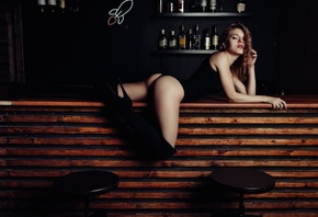 women, closed eyes, bar, knee-high boots, bodysuit, ass, bottles, brunette, eyeliner