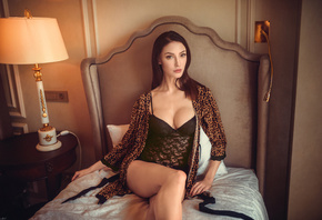 women, sitting, body lingerie, lamp, animal print, black lingerie, in bed,  ...