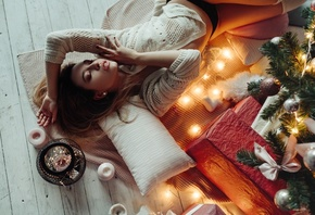 women, Christmas Tree, closed eyes, black panties, brunette, candles, on the floor, stockings, pillow, presents