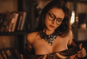women, portrait, boobs, women with glasses, chair, books, closed eyes, covering boobs