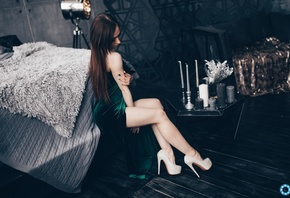 women, high heels, green dress, bed, sitting, candles, painted nails, long hair