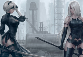 B And A2 Nier, Automata, Artwork