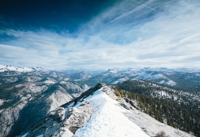 Yosemite, 5k, 4k wallpaper, 8k, winter, snow, forest, OSX, apple, mountains, Nature