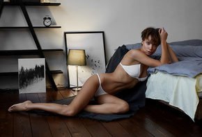 women, white lingerie, short hair, bed, belly, ribs, lamp, sitting, wooden surface, wooden floor