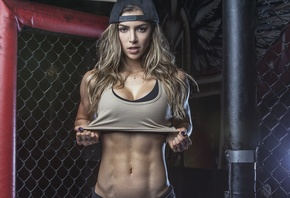 women, blonde, muscles, fitness, model, Anllela Sagra