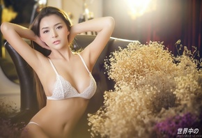 women, model, flowers, Asian, plants, photography, dress, arms up, boobs, lingerie, clothing, white bra, flower, bea