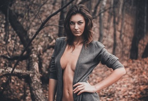 forest, see through clothing, no bra, women, portrait, model, looking back at viewer