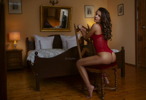 women, sitting, ass, chair, mirror, red lingerie, lamp, body lingerie, red nails, bed, reflection, brunette, room