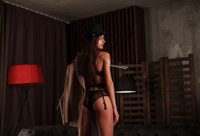 women, tanned, lamp, ass, black lingerie, back, garter belt, long hair, brunette