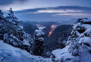 winter, snow, trees, mountains, Germany, panorama, Germany, Saxon Switzerla ...