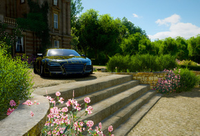 Forza Horizon 4, Audi R8, Stairs, Flowers